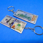 "3"" Metal $ 100 Bill Novelty Keychains .54 each"