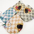 "4"" Designer Look Zipper Coin Bag w/ Keychain  .50 ea"