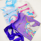 "Big  6"" x 7.5"" Unicorn Theme Zipper Side Bag w/ Long Strap .56 each"