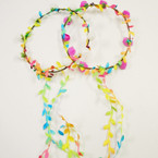 Flower Halo Garland w/ Dangle Leaves Asst Colors .56 each