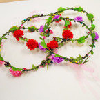 Flower Halo  w/ Dangle Ribbon  Asst Colors .54 each