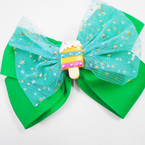 "5"" 2 Layer Gator Clip Bows w/ Sparkle Lace & Ice Cream Pop   .55 each"