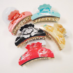 "3.5"" Shiney Flower Pattern Jaw Clips MIxed Colors  .54 each"