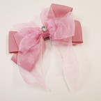 "5"" 2 Layer Gator Clip Bow w/ Chiffon Tails & CZ Center Stone .54 each"