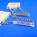 I Love You Engraved ID Bar Chain Bracelets Gold & Silver .54 each