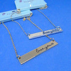 "18"" I Love You Engraved  Bar Chain Necklaces Gold & Silver .56 each"