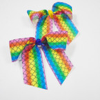 "4"" X 4"" Rainbow Mermaid Theme Gator Clip Bows 24 per pack ONLY .25 each"