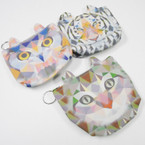 "4"" X 5"" Cat Ear Cat Theme Zipper Coin Bag w/ Key Chain .54 each"