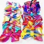 "5"" Shiney Multi Color Metallic Gator Clip Bows .54 each"