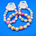 Fimo,Pearl Bead & Crystal Fashion Stretch Bracelets .54 each