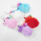 "3.5"" Faux Fur Pom Pom Ball Keychain w/ Plush Unicorn .58 each"