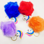 "3.5"" Faux Fur Pom Pom Ball Keychain w/ Lucky Unicorn Charm  .55 each"