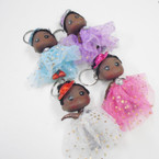 "4"" Dressed Up Afro Doll Keychains w/ Lace Dress & Sequin Hat  .49 each"