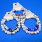 Elegant 2 Strand Glass Pearl Bracelets w/ Crystals .54 per set