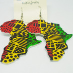 "3"" Rasta Color Africa Map Wood Earrings  .52 ea"