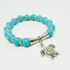 Turquoise Stone Bead Stretch Bracelet w/ Silver Turtle Charm .54 ea