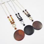"""20"""" Gold & SIlver Bead Necklace w/ Wood Pendant .54 ea"""