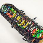 Teen Leather Bracelets w/ Rasta Mix As Shown .54 each