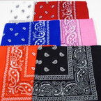 "22"" Square Bandana Mixed Pack 6 colors as shown .50 each"