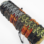 Leather Bracelets w/ Gold & Silver Elephants Trunk Up  .54 each
