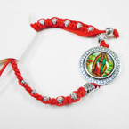 Red w/ Silver Bead Macrame Bracelet w/ Guadalupe Charm .54 each