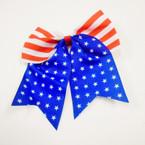 """5"""" X 6"""" USA Theme Gator Clip Cheer Tail Bows .54 each"""