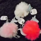 "3"" Faux Fur Pom Pom Ball Keychains w/ Silver Glitter Unicorn  .56 each"