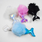 "5"" Faux Fur Pom Pom Ball Keychains w/ Metallic Mermaid Tail .56 each"