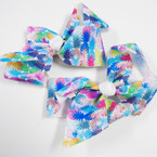 "5"" Pineapple Pattern Tye Dye Gator Clip Bows .54 each"