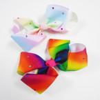 """6"""" JoJo Style Tye Dye Gator Clip Bows w/ Colored Stones  .54 each"""
