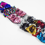 "5.5"" Sequin Change Color Mermaid Bows w/ Crystal Stone Center .58 each"