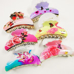 "Flower & Butterfly Theme  3.5"" Jaw Clips MIxed Styles .54 each"