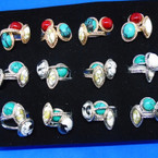 Gold & Silver Marble Stone Rings 36 per bx .20 each