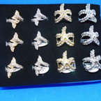 Gold & Silver Crystal Stone Rings Starfish & Whales Tail .54 each