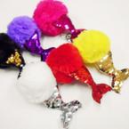 Faux Fur Ball Keychain w/ Sequin Mermaid Tail 12 per pk .58 ea