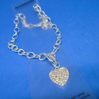 Silver Toogle Link Necklace w/ Crystal Stone Heart Pendant .56 ea