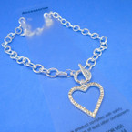 Silver Toogle Link Necklace w/ Crystal Stone Open Heart Pendant .56 ea