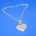 Silver Toogle Link Necklace w/ Crystal Stone Wide Heart Pendant .56 ea