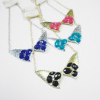 Gold/Silver Statement Pendant Necklace w/ Mixed Colored Stone .56 each