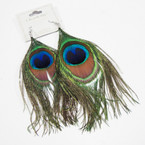 "4"" Imitation Look Peacock Feather Earrings .56 ea pair"
