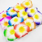 "3.5"" DBL Hawaiian Flower on Clear Jaw Clip w/ Stone .54 each"