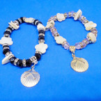 Crystal Stone & Shell Stretch Bracelet w/ Silver Shell Charm .54 ea