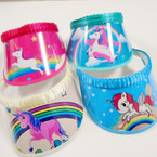 SPECIAL Limited Quantity Kid's Unicorn Theme Sun Visors 12 per pack .65 each