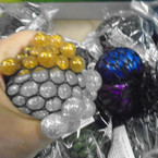 "3"" Two Tone Glitter Bead Squish Mesh Balls 12 per display bx .58 each"