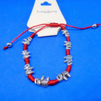 Hand Knotted Red Cord Bracelet w/ Cast Silver Elephants .54 ea