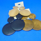 """2 Part 3"""" Wood Round Disc Earrings 3 colors .52 each"""