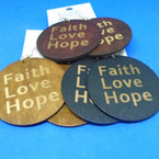 "2"" Faith,Love,Hope Printed Wood Earrings 3 colors .52 each"