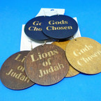Loins of Judah,Gods Chosen Printed Wood Earrings 3 colors .52 each