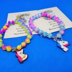 Multi Color Beaded Bracelet w/ Unicorn Charm & Story Card .54 each