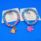 Two Tone Color Beaded Bracelet w/ Unicorn Charm & Story Card .54 each